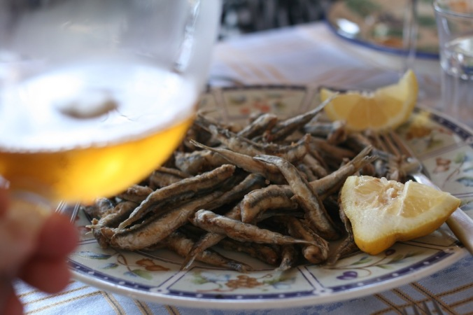 Falanghina and  Salty Fried Fish